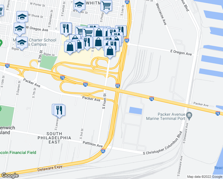 map of restaurants, bars, coffee shops, grocery stores, and more near Schuylkill Expressway in Philadelphia
