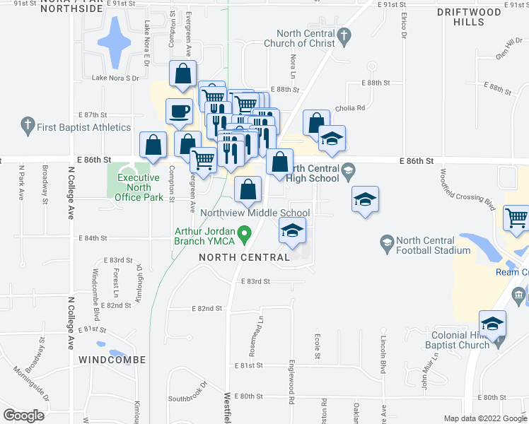 map of restaurants, bars, coffee shops, grocery stores, and more near 8496-8498 Westfield Boulevard in Indianapolis