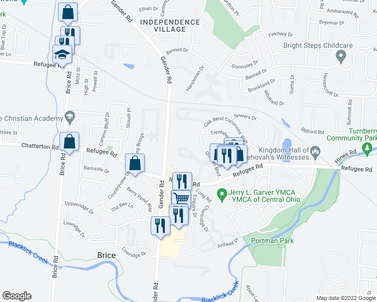 map of restaurants, bars, coffee shops, grocery stores, and more near 6587-6653 Strattford Lakes Boulevard in Canal Winchester