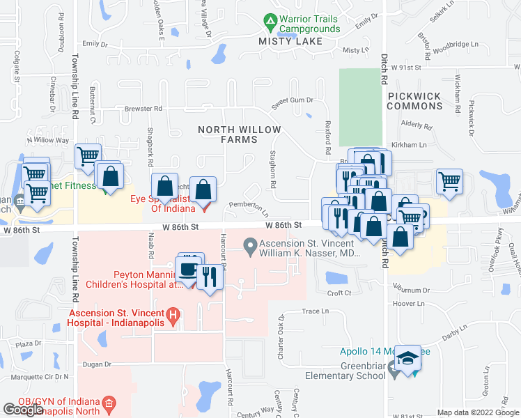 map of restaurants, bars, coffee shops, grocery stores, and more near 8719-8799 Pemberton Circle in Indianapolis