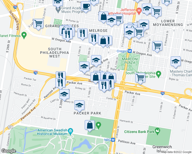 map of restaurants, bars, coffee shops, grocery stores, and more near 3000 South Colorado Street in Philadelphia