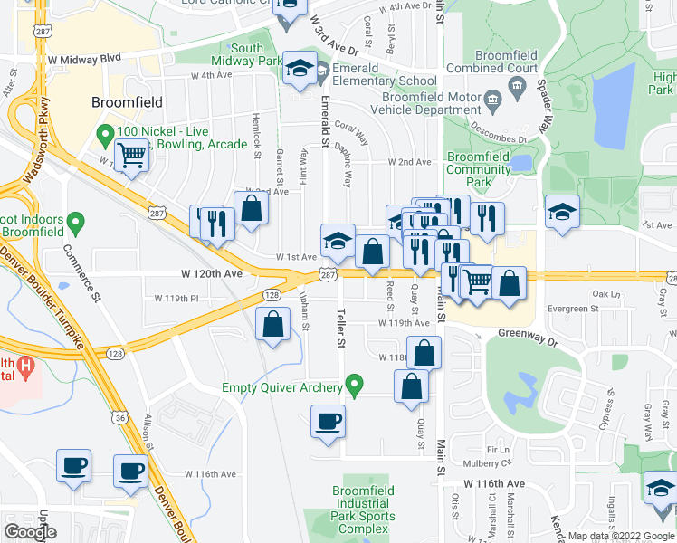 map of restaurants, bars, coffee shops, grocery stores, and more near 7203 West 120th Avenue in Broomfield