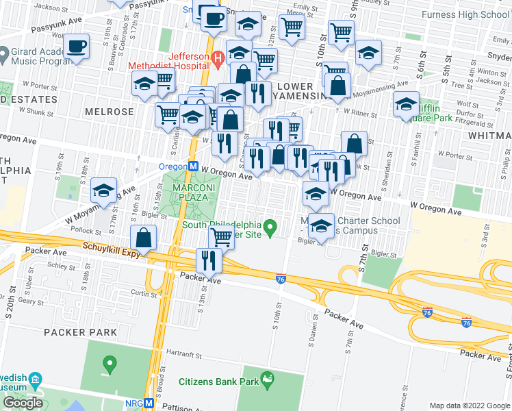map of restaurants, bars, coffee shops, grocery stores, and more near South Marvine Street in Philadelphia