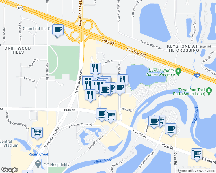 map of restaurants, bars, coffee shops, grocery stores, and more near 8785 Keystone Crossing in Indianapolis