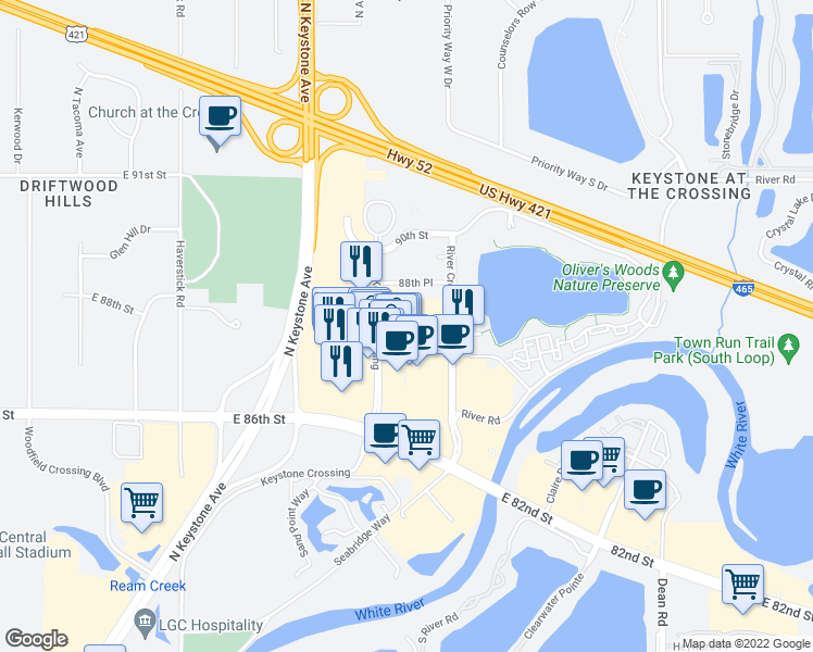 map of restaurants, bars, coffee shops, grocery stores, and more near 8787 Keystone Crossing in Indianapolis