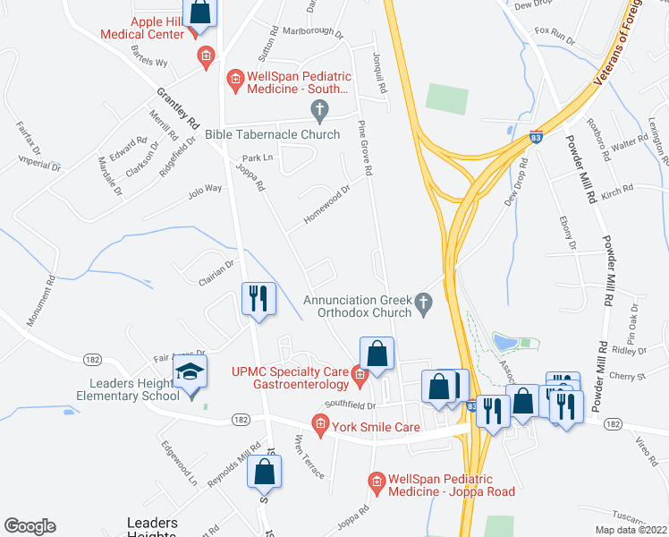 map of restaurants, bars, coffee shops, grocery stores, and more near 2505 Joppa Road in York