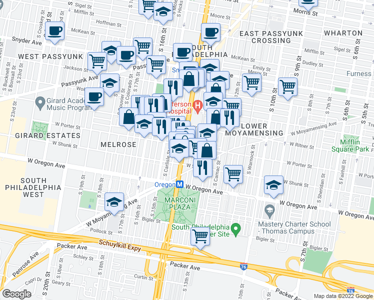 map of restaurants, bars, coffee shops, grocery stores, and more near 2444 South Broad Street in Philadelphia