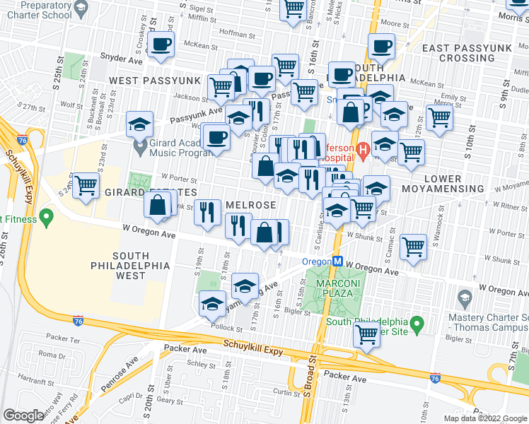 map of restaurants, bars, coffee shops, grocery stores, and more near 2539 S 17th St in Philadelphia