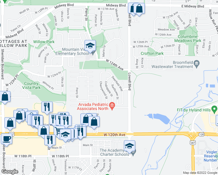 map of restaurants, bars, coffee shops, grocery stores, and more near 12210 Crabapple Street in Broomfield