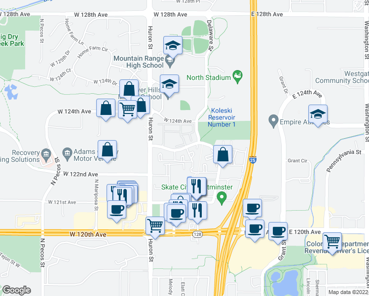 map of restaurants, bars, coffee shops, grocery stores, and more near 600 West 123rd Avenue in Denver