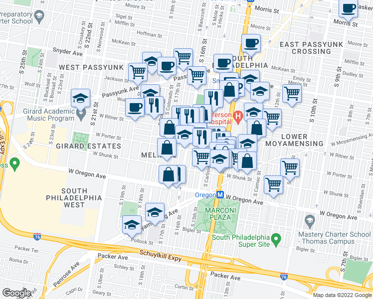 map of restaurants, bars, coffee shops, grocery stores, and more near South 16th Street in Philadelphia