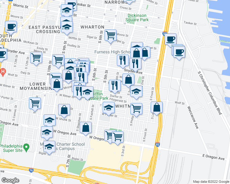 map of restaurants, bars, coffee shops, grocery stores, and more near S 4th St & Wolf St in Philadelphia