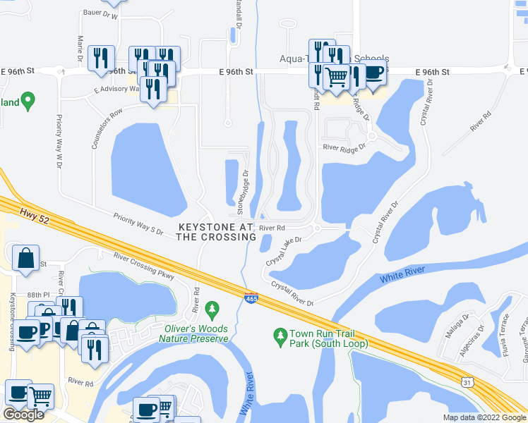 map of restaurants, bars, coffee shops, grocery stores, and more near 9205 Knights Bridge Boulevard in Indianapolis