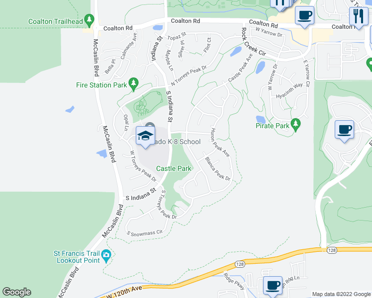 map of restaurants, bars, coffee shops, grocery stores, and more near 3465 Castle Peak Avenue in Superior