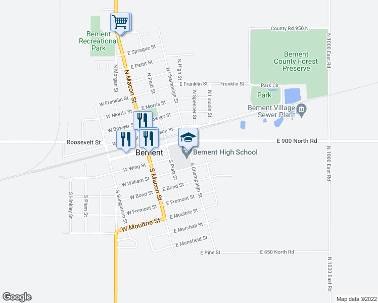 map of restaurants, bars, coffee shops, grocery stores, and more near 101-199 South Champaign Street in Bement
