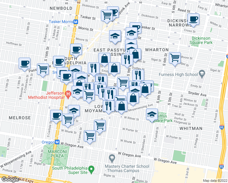map of restaurants, bars, coffee shops, grocery stores, and more near South 10th Street & Jackson Street in Philadelphia