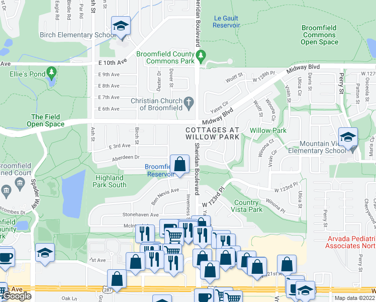 map of restaurants, bars, coffee shops, grocery stores, and more near 12451 North Sheridan Boulevard in Broomfield
