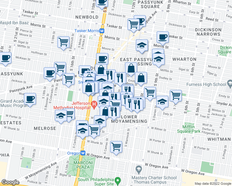 map of restaurants, bars, coffee shops, grocery stores, and more near 1202 Jackson Street in Philadelphia