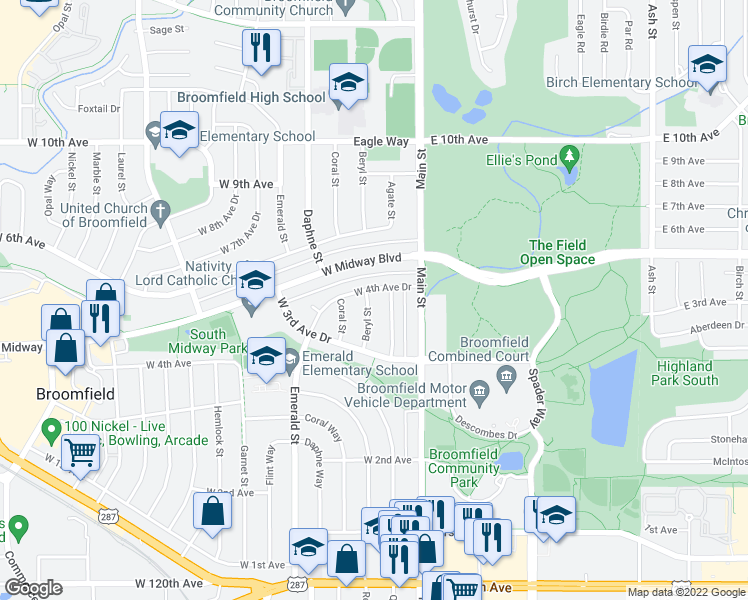 map of restaurants, bars, coffee shops, grocery stores, and more near 380 Beryl Street in Broomfield