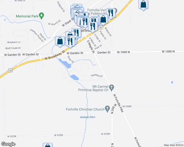 map of restaurants, bars, coffee shops, grocery stores, and more near 129 Saundra Drive in Fortville