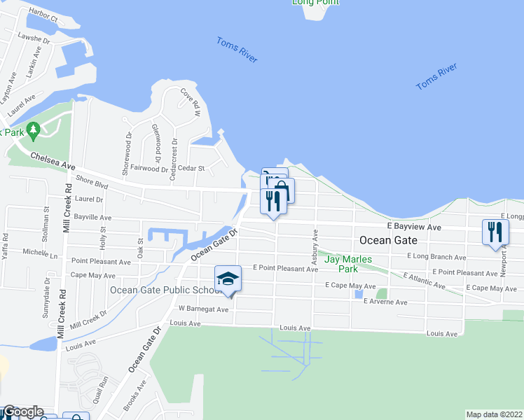 map of restaurants, bars, coffee shops, grocery stores, and more near 22 West Longport Avenue in Ocean Gate