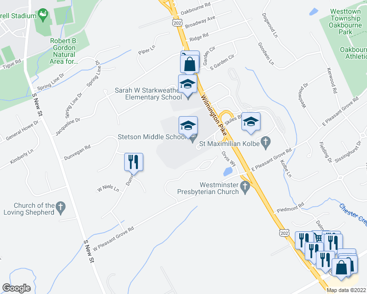 map of restaurants, bars, coffee shops, grocery stores, and more near 1060 Wilmington Pike in West Chester