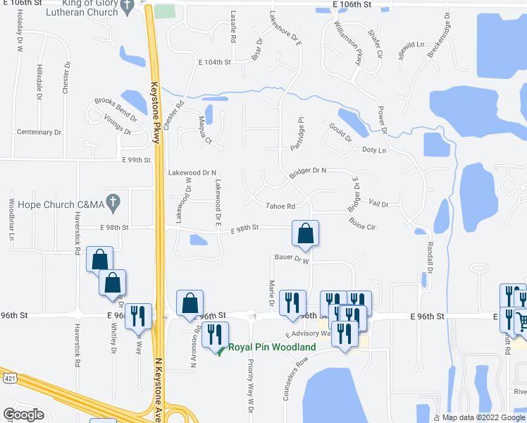 map of restaurants, bars, coffee shops, grocery stores, and more near 3533 Tahoe Rd in Carmel
