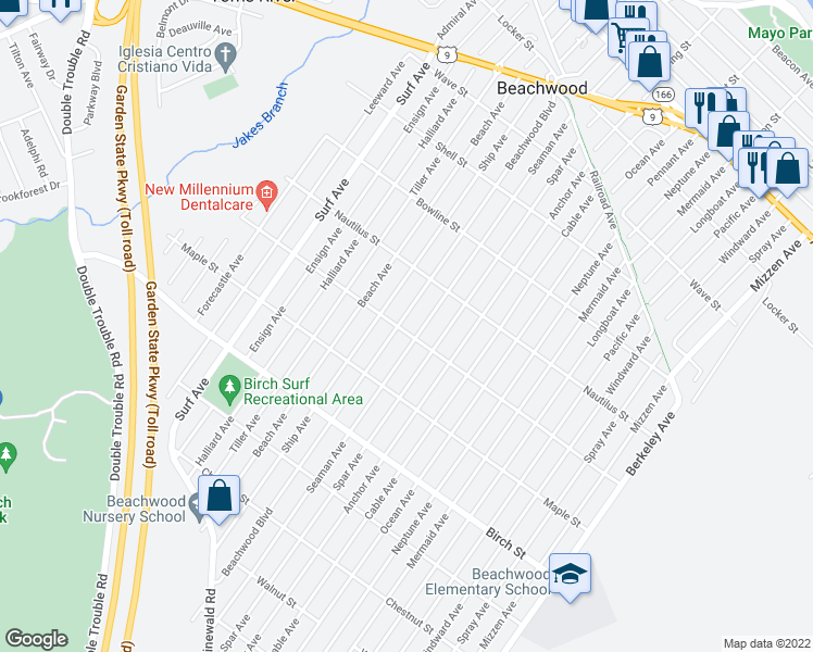map of restaurants, bars, coffee shops, grocery stores, and more near 66 Oak Street in Beachwood