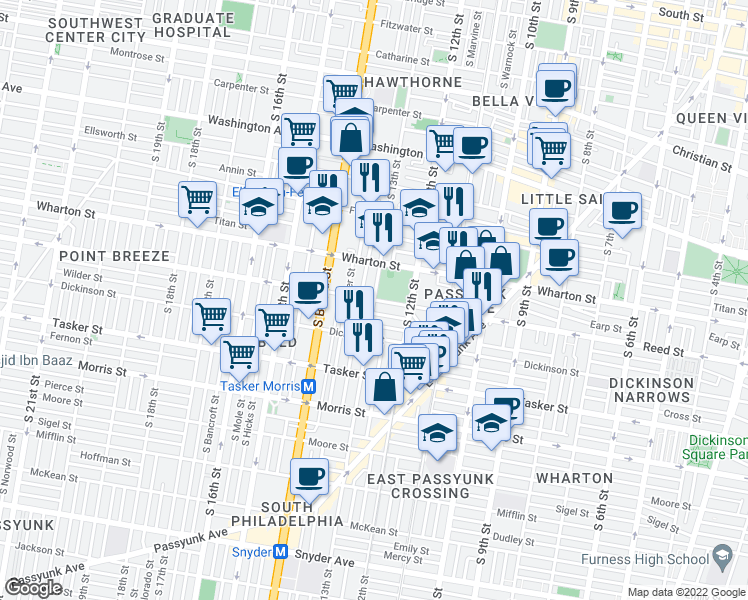 map of restaurants, bars, coffee shops, grocery stores, and more near Reed St & S 13th St in Philadelphia