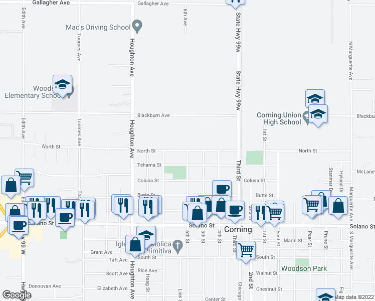 map of restaurants, bars, coffee shops, grocery stores, and more near North Street in Corning