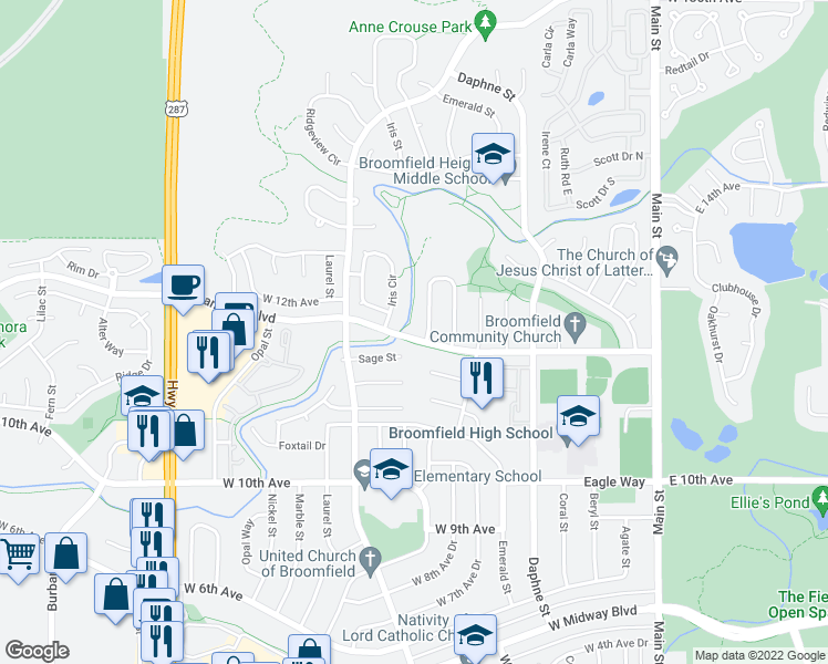 map of restaurants, bars, coffee shops, grocery stores, and more near 920 Miramonte Boulevard in Broomfield