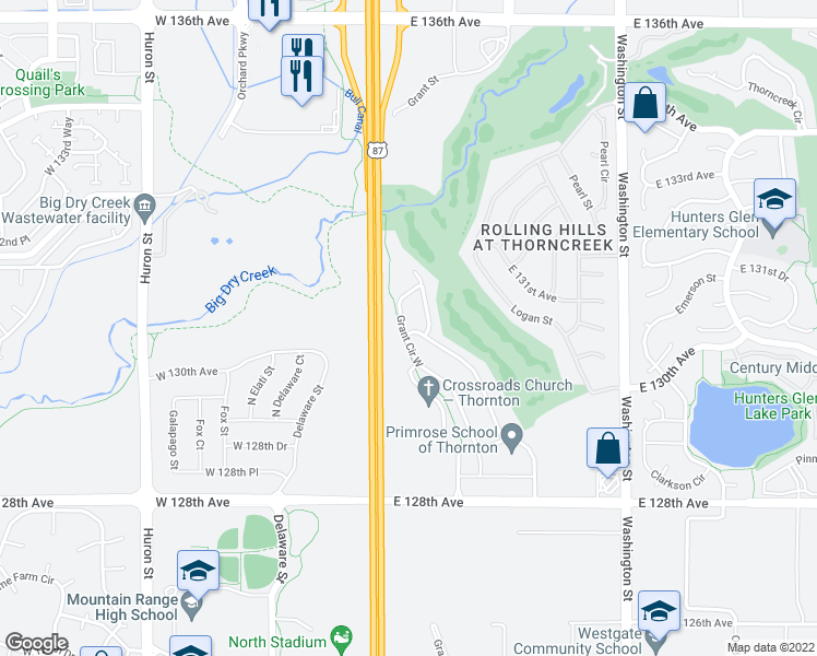 map of restaurants, bars, coffee shops, grocery stores, and more near 13092 Grant Circle East in Thornton
