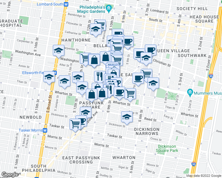 map of restaurants, bars, coffee shops, grocery stores, and more near 1172 South 9th Street in Philadelphia