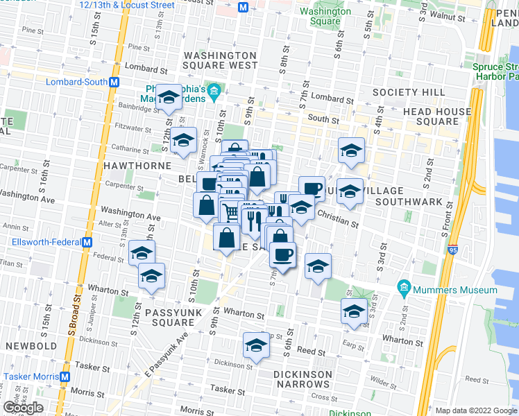 map of restaurants, bars, coffee shops, grocery stores, and more near S 8th St & Montrose St in Philadelphia
