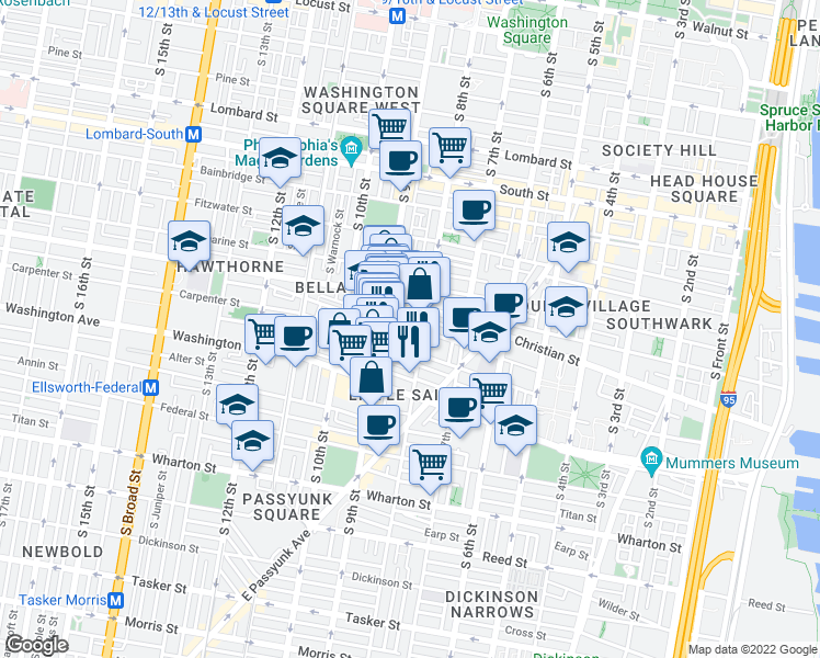 map of restaurants, bars, coffee shops, grocery stores, and more near 817 Montrose St in Philadelphia