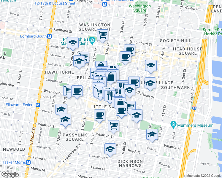 map of restaurants, bars, coffee shops, grocery stores, and more near 801 Montrose Street in Philadelphia