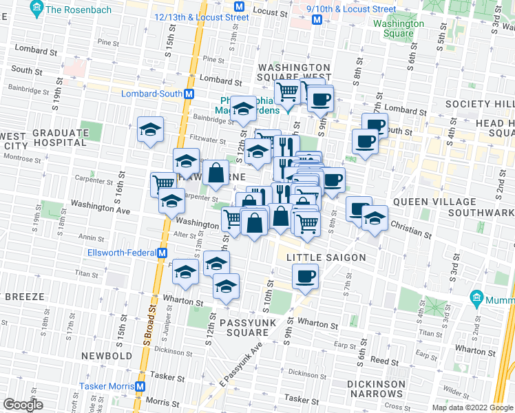 map of restaurants, bars, coffee shops, grocery stores, and more near South 11th Street & Carpenter Street in Philadelphia