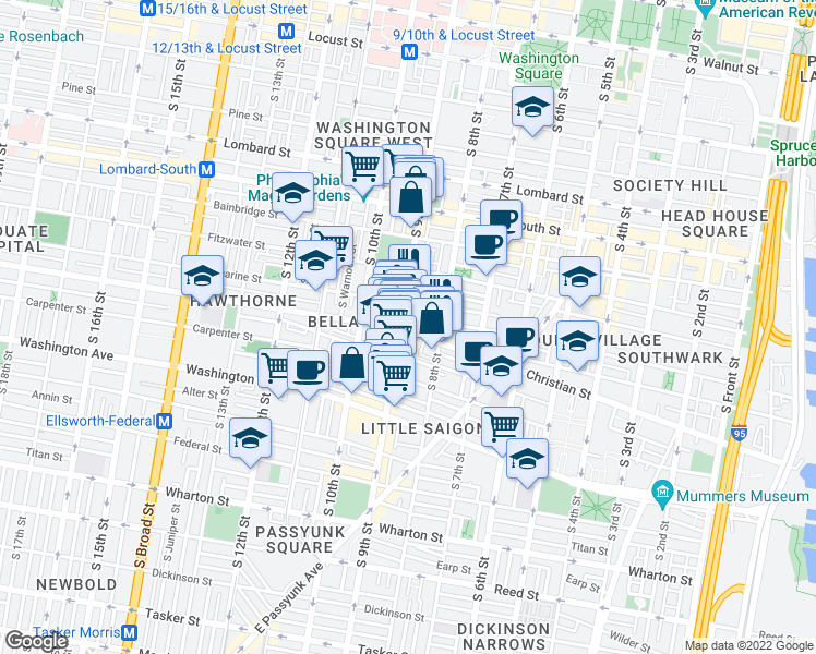 map of restaurants, bars, coffee shops, grocery stores, and more near 827 South 9th Street in Philadelphia