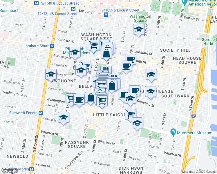 map of restaurants, bars, coffee shops, grocery stores, and more near 817 South Darien Street in Philadelphia