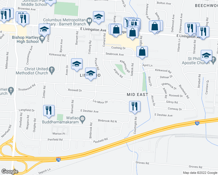 map of restaurants, bars, coffee shops, grocery stores, and more near 3485 Scottwood Road in Columbus