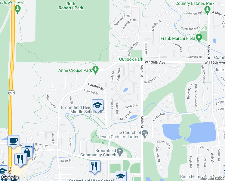 map of restaurants, bars, coffee shops, grocery stores, and more near 67 Carla Way in Broomfield