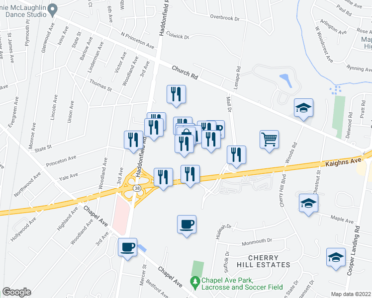 map of restaurants, bars, coffee shops, grocery stores, and more near 2000 New Jersey 38 in Cherry Hill