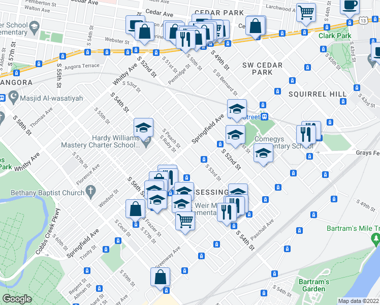 map of restaurants, bars, coffee shops, grocery stores, and more near 1310 S 53rd St in Philadelphia
