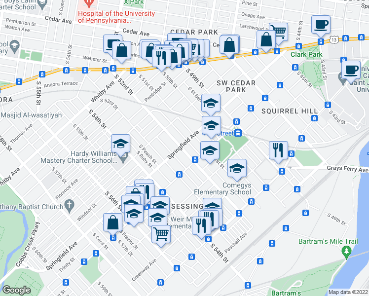map of restaurants, bars, coffee shops, grocery stores, and more near 5130 Springfield Avenue in Philadelphia