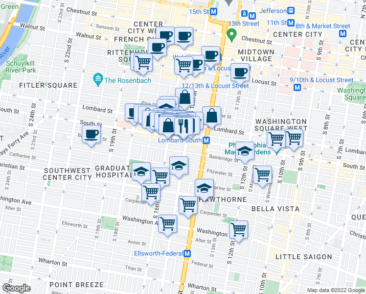 map of restaurants, bars, coffee shops, grocery stores, and more near 612 South 15th Street in Philadelphia
