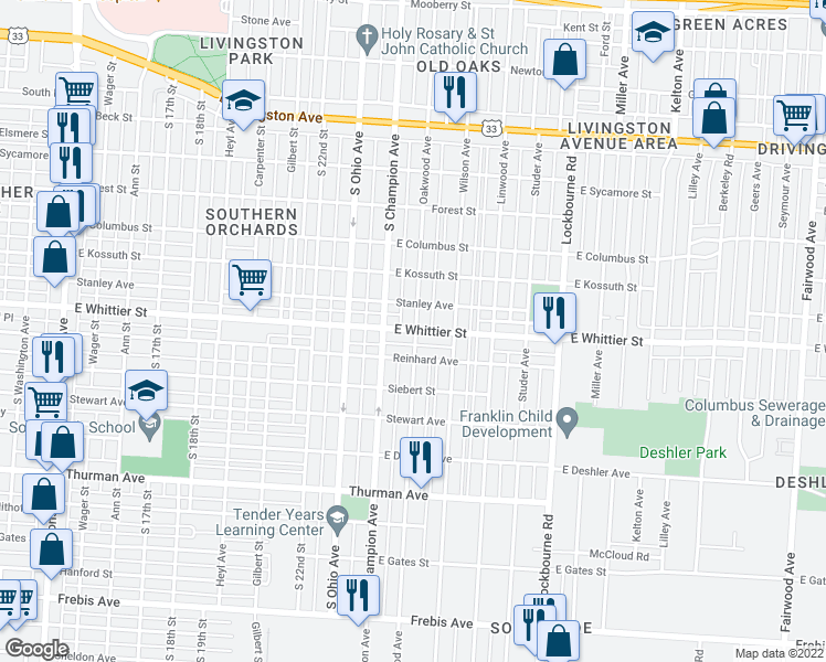 map of restaurants, bars, coffee shops, grocery stores, and more near 1022 E Whittier St in Columbus
