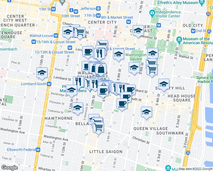 map of restaurants, bars, coffee shops, grocery stores, and more near S 9th St & Lombard St in Philadelphia