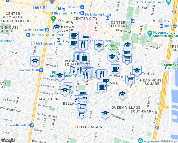map of restaurants, bars, coffee shops, grocery stores, and more near South 9th Street & Lombard Street in Philadelphia