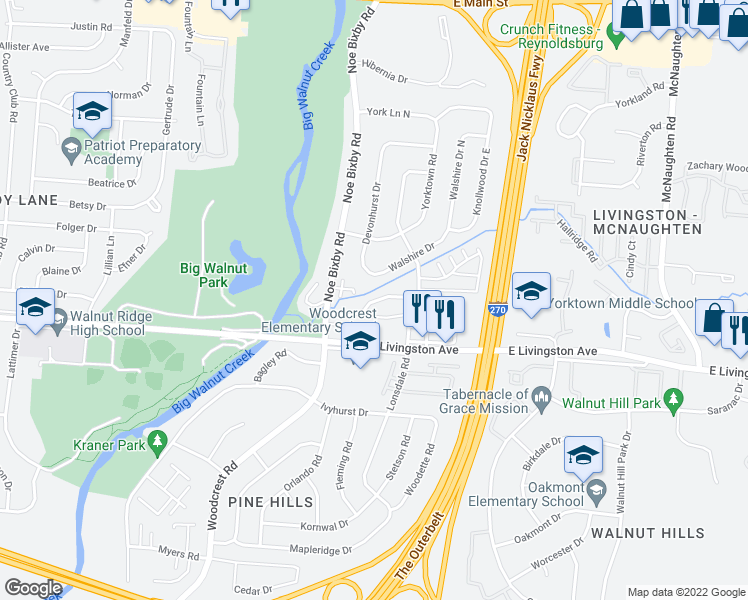 map of restaurants, bars, coffee shops, grocery stores, and more near 5330-5454 Yorkshire Terrace Drive in Columbus