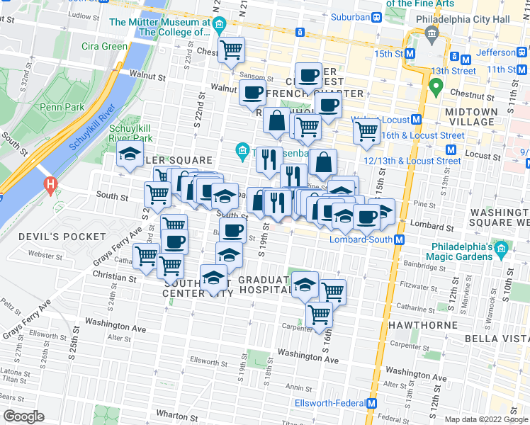 map of restaurants, bars, coffee shops, grocery stores, and more near 520 South 19th Street in Philadelphia